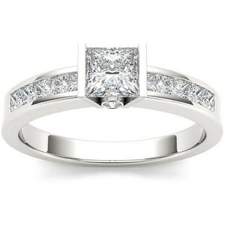 1 Carat T.W. Diamond Princess-Cut Half-Bezel Classic 14kt White Gold Engagement Ring