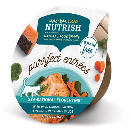 (24 Pack) Rachael Ray Nutrish Purrfect Entrees Grain Free Sea-Sational Florentine with Wild Caught Salmon & Veggies in Creamy Sauce Natural Wet Cat Food, 2 oz