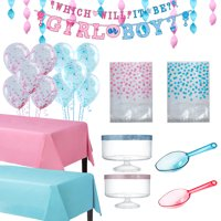 Gender Reveal Party Treat Table Decorating Kit and Supplies, with Containers