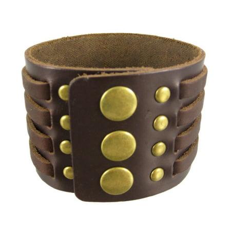 Brown Leather 4 Strip Chrome Studded Wristband - image 1 de 5