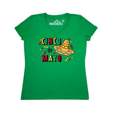 Happy Cinco de Mayo-sombrero Women's V-Neck T-Shirt](Cinco De Mayo Stuff)