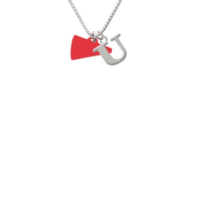 Acrylic 3 4   Red Megaphone Capital Initial U Necklace