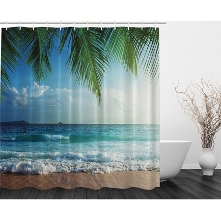 Palms Ocean Tropical Island Beach Decor Traveler Explorer Fabric Shower Curtain