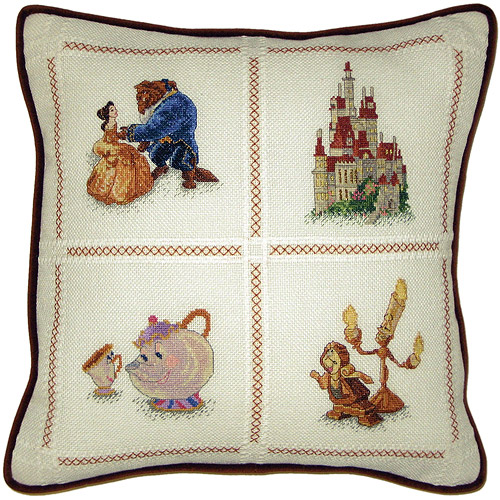 "Beauty & The Beast Pillow Counted Cross Stitch Kit, 14"" x 14"" 18 Count"