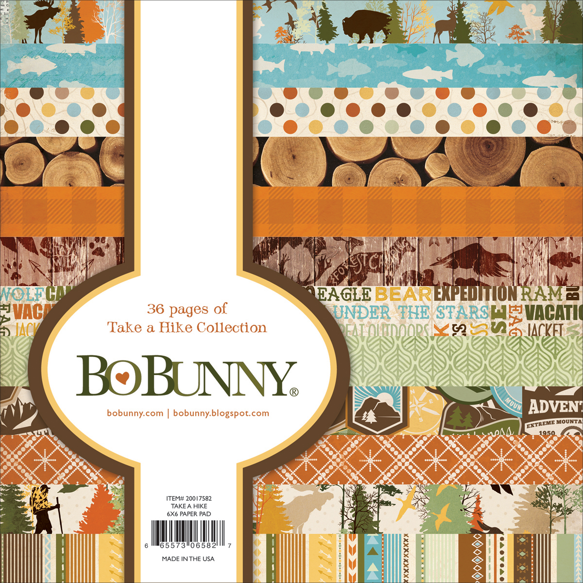 "BoBunny Single-Sided Paper Pad 6""X6"" 36/Pkg-Take A Hike, 12 Designs/3 Each"