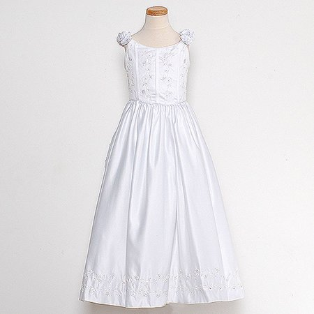 672b35c53dd Rain Kids White Bridal Satin Adjustable Corset Dress Little Girl 2T ...