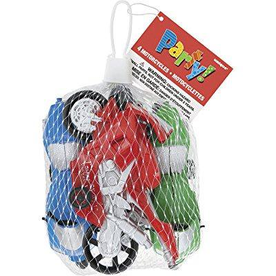 plastic toy motorcycle party favors , 4ct - Motorcycle Birthday Party Supplies