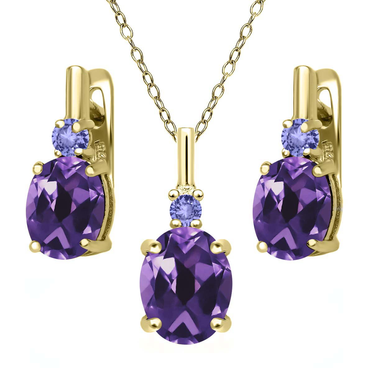 5.06 Ct Purple Amethyst Blue Tanzanite 18K Yellow Gold Plated Silver Pendant Earrings Set by