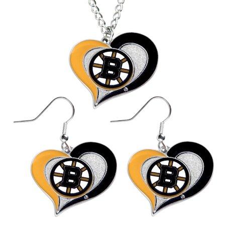 Boston Bruins Swirl Heart Necklace and Sports Team Logo Earring Set NHL Charm Gift Profile Logo Heart Pendant