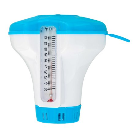 """U.S. Pool Supply Floating 1-1/2"""" Tablet Swimming Pool Chlorine Chemical Dispenser with Thermometer"""