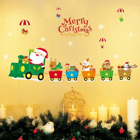 Mosunx Christmas Living Room Xmas Santa Claus Snowman Elk Wall Stickers Window Decor