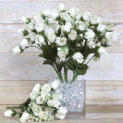 180 Artificial Silk Mini Rose Buds Wedding Bouquet Vase Center - Cream - Mini Bud Vases
