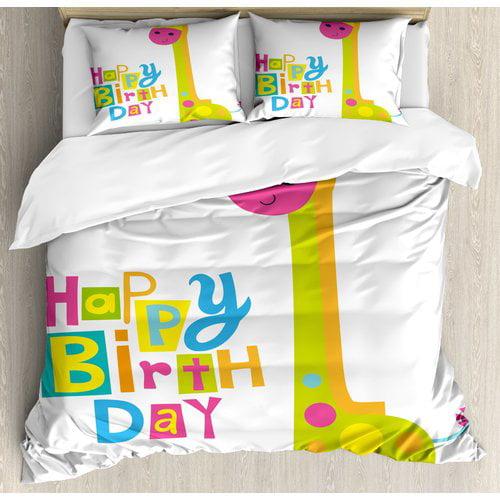 Ambesonne Birthday Decorations Duvet Cover Set