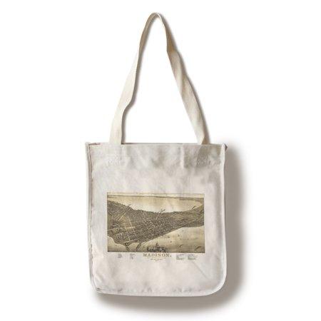 Madison  Wisconsin   2    1885    Panoramic Map  100  Cotton Tote Bag   Reusable