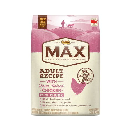 Nutro MAX Adult Mini Chunk Dry Dog Food, With Farm Raised Chicken, 25 Lb