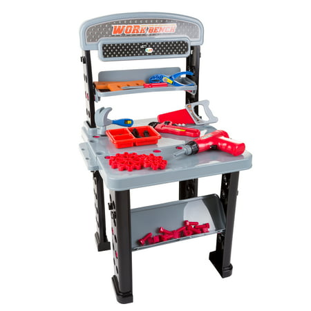 Tool Bench – 75-Piece Toy Pretend Woodworking and Mechanic Workshop for Toddlers and Children with Battery Powered Drill and Accessories by Hey! Play!