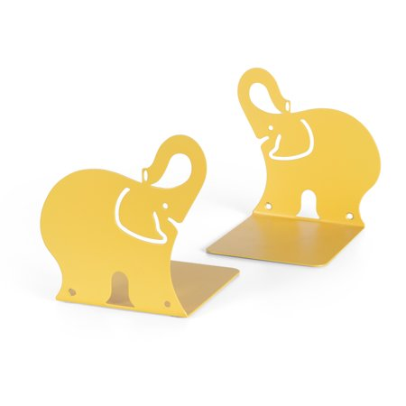 Wallniture Set of 2 Animal Themed Nursery and Kids Room Bookends and Wall Mount Shelves Metal Yellow Kids Wooden Bookends