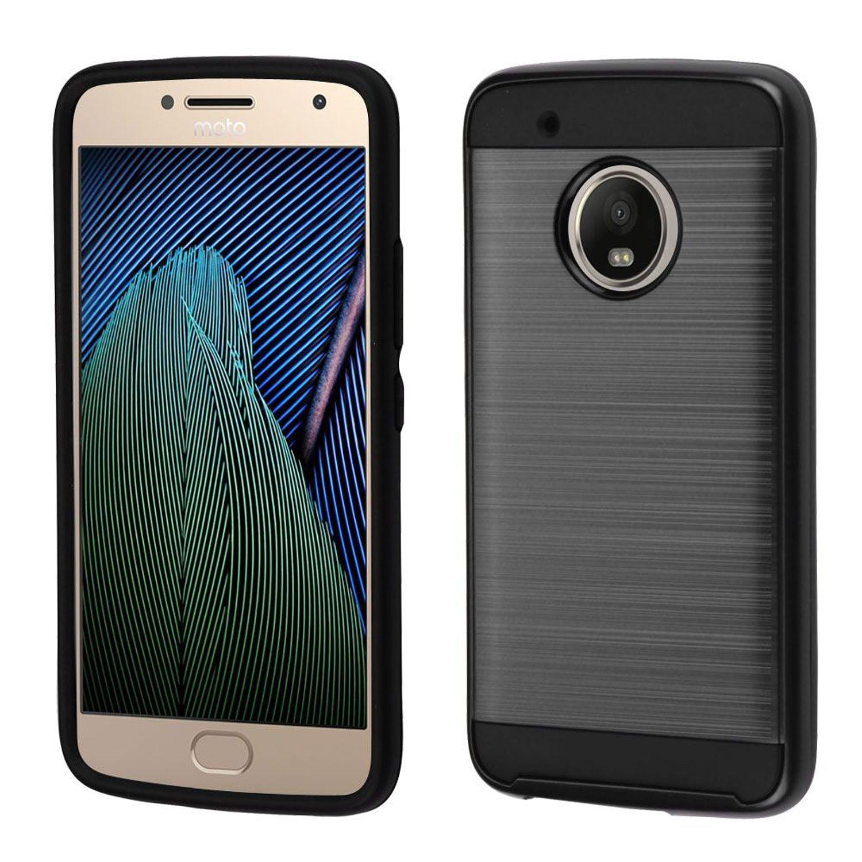 Motorola Moto G5 Plus Case, Motorola Moto X Case, by Insten Dual Layer [Shock Absorbing] Hybrid Brushed Hard Plastic/Soft TPU Rubber Case Cover For Motorola Moto G5 Plus/X (2017), Black