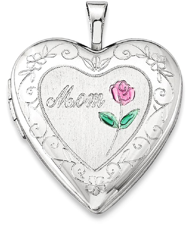 ICE CARATS 925 Sterling Silver 20mm Enameled Mom Heart Photo Pendant Charm Locket Chain Necklace That Holds Pictures... by IceCarats Designer Jewelry Gift USA