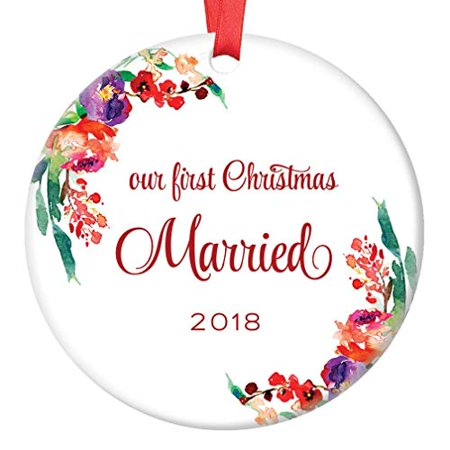 Newlywed Christmas Ornament 2018 First Xmas Tree Gift Idea for New Husband & Wife First Christmas Married, 3