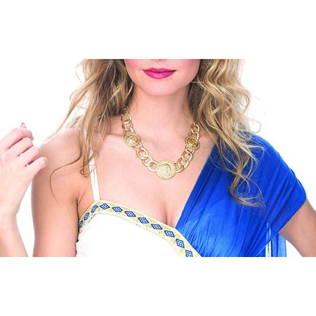 Gold Roman Greek Coin Chain Necklace Adult Costume Accessory