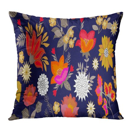 - ECCOT Colorful Fantasy Folk Flourish Border Floral Pattern Blooming Flowers and Grey Leaves Botanical Vintage Pillow Case Pillow Cover 16x16 inch