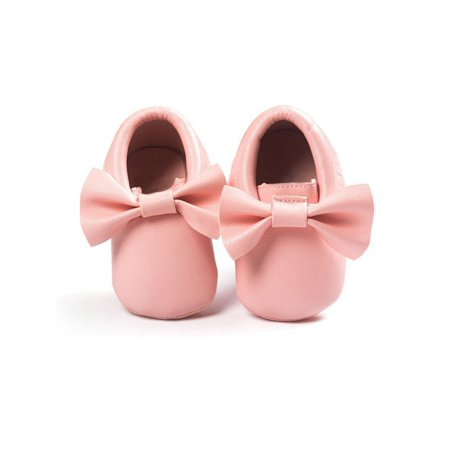 Sweetsmile Toddler Infant Boy Girl Moccasin Bowknot Shoes Baby Soft Sole PU Leather Crib Shoes (Deerskin Crepe Sole Moccasin)