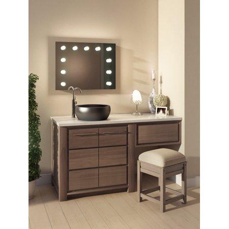Diamond X Wallmount Hollywood Vanity Audio Bath Mirror with WW LED k95WWaudbath ()