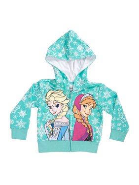 Disney Frozen Snowflakes Sisters Girls Mint Green Zip-Up Hoodie Sweatshirt | 6x