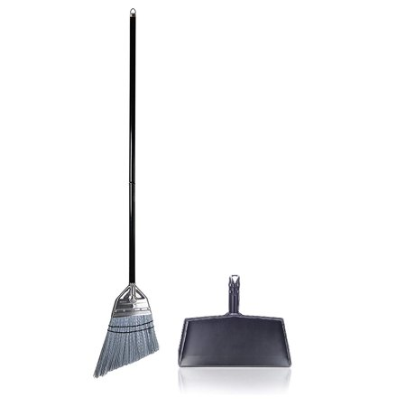 """Fine Sweeping Broom - Fuller Brush Versatile Complete Angle Broom with Black Clip-On Dustpan – 9 1/2"""" Sweeping Path"""