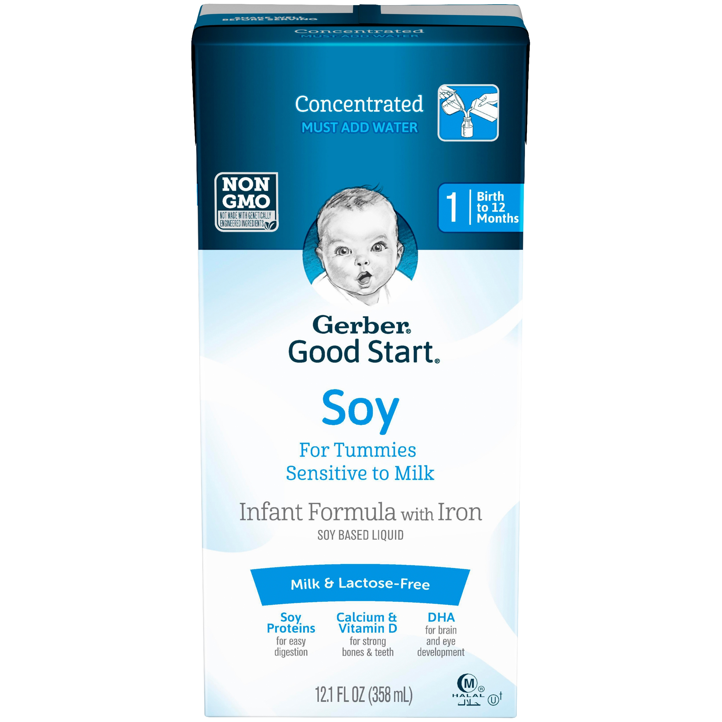 Gerber Good Start Soy Non-GMO Concentrated Liquid Infant Formula, Stage 1, 12.1 fl. oz. (Pack of 12)