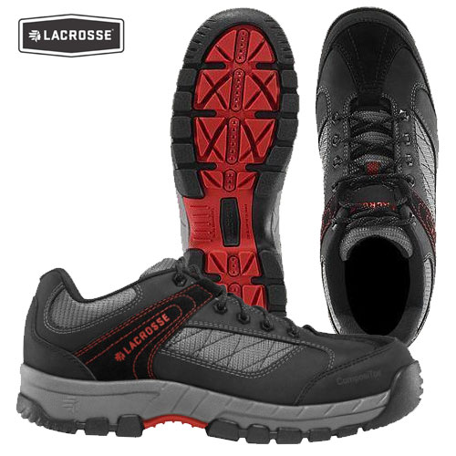 "LaCrosse Quickness 3"" NMT Work Shoes (13-M)- Black/Red"