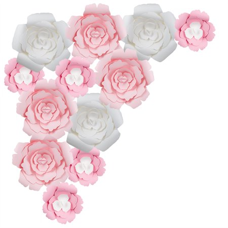 Quasimoon 12 Pc Combo Giant White Pink Rose Paper Flower Backdrop Wall Decor For Large Weddings Photo Shoots Birthday Parties And More By