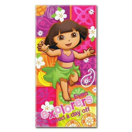 Dora the Explorer Nick Jr Summer Salsa 30x60 Fiber Reactive Cotton Beach