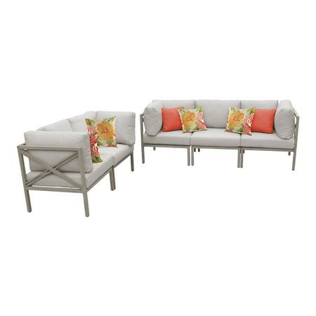 TK Classics Carlisle Aluminum 5 Piece Patio Sofa and Loveseat (Carlyle 5 Piece)