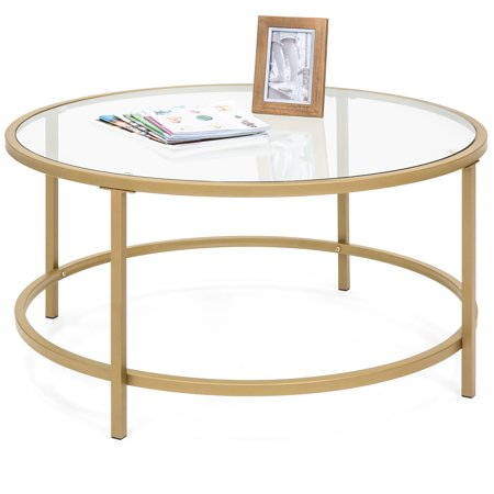 Best Choice Products Round 36in Tempered Glass Coffee Table w/ Satin Gold Trim for Home, Living Room, Dining Room ()
