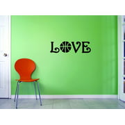Custom Decals Love Basketball Wall Art Size: 6 X 20 Inches Color: Black