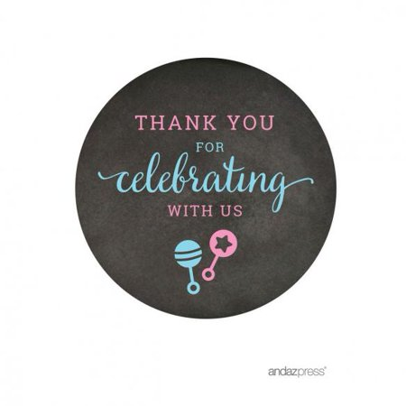 Thank You For Celebrating With Us!  Team Pink/Blue Gender Reveal Baby Shower Round Favor Stickers, - Gender Reveal Stickers