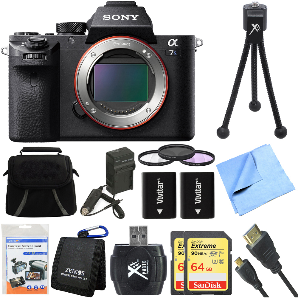 Sony a7S II Full-frame Mirrorless Interchangeable Lens Camera Deluxe 64GB Bundle includes a7S II Body, 64GB Memory Cards, Reader, Wallet, 62mm Filter Kit, Beach Camera Cloth, Batteries, Charger + More