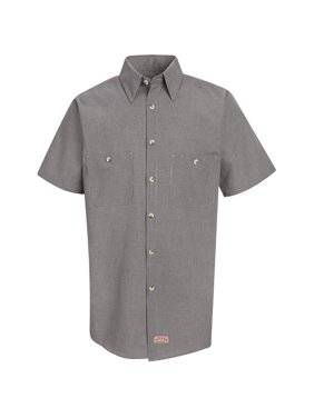 Men's Short Sleeve Micro-Check Uniform Shirt