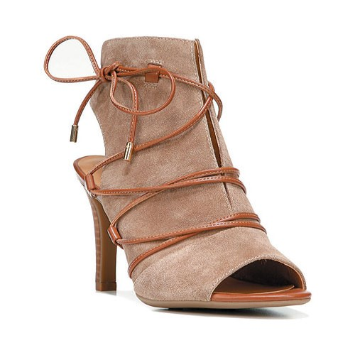 Franco Sarto Quinera Women Open Toe Suede Brown Sandals by Franco Sarto