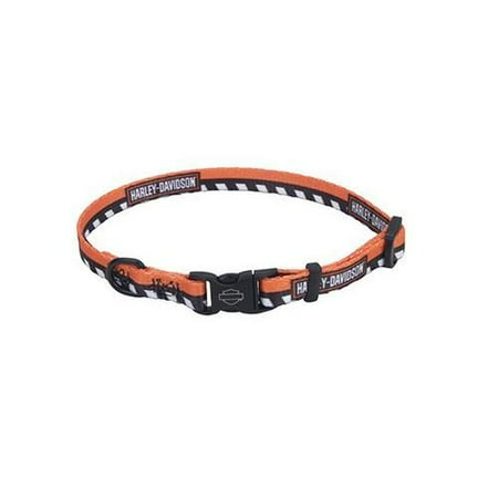 Harley-Davidson Li'l Bikers Adjustable Checkered Dog Collar - 2 Sizes, Orange, Harley Davidson (Harley Davidson Leather Collar)