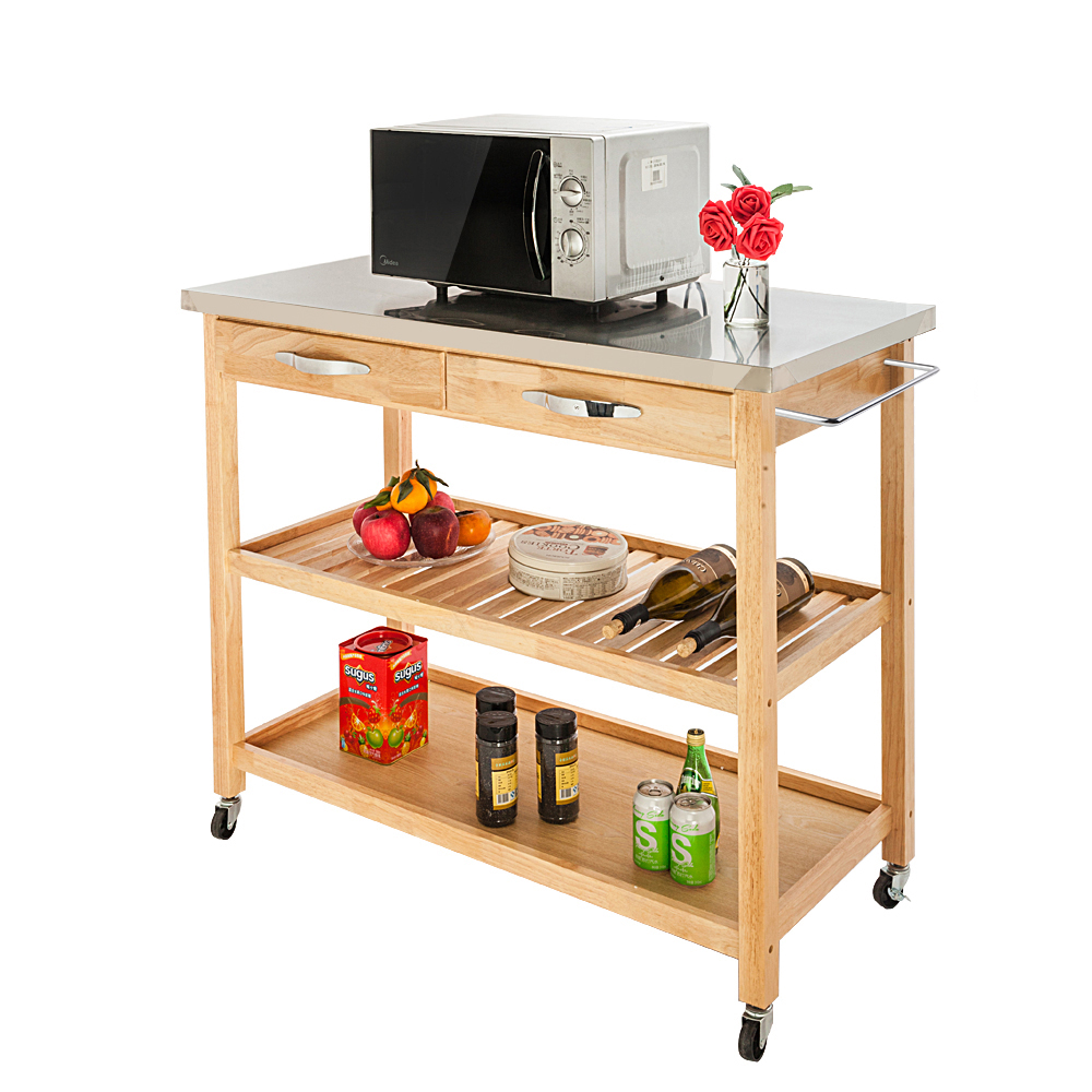 Moveable Kitchen Cart with Stainless Steel Table Top /& Two Drawers /& Two Shelves