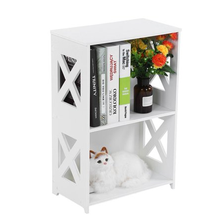 WALFRONT White Bookshelf Bookcase 2 Tier Floor-standing Kids Organizer Storage Shelves Multipurpose Shelf Display Rack for Bedroom Living Room Office