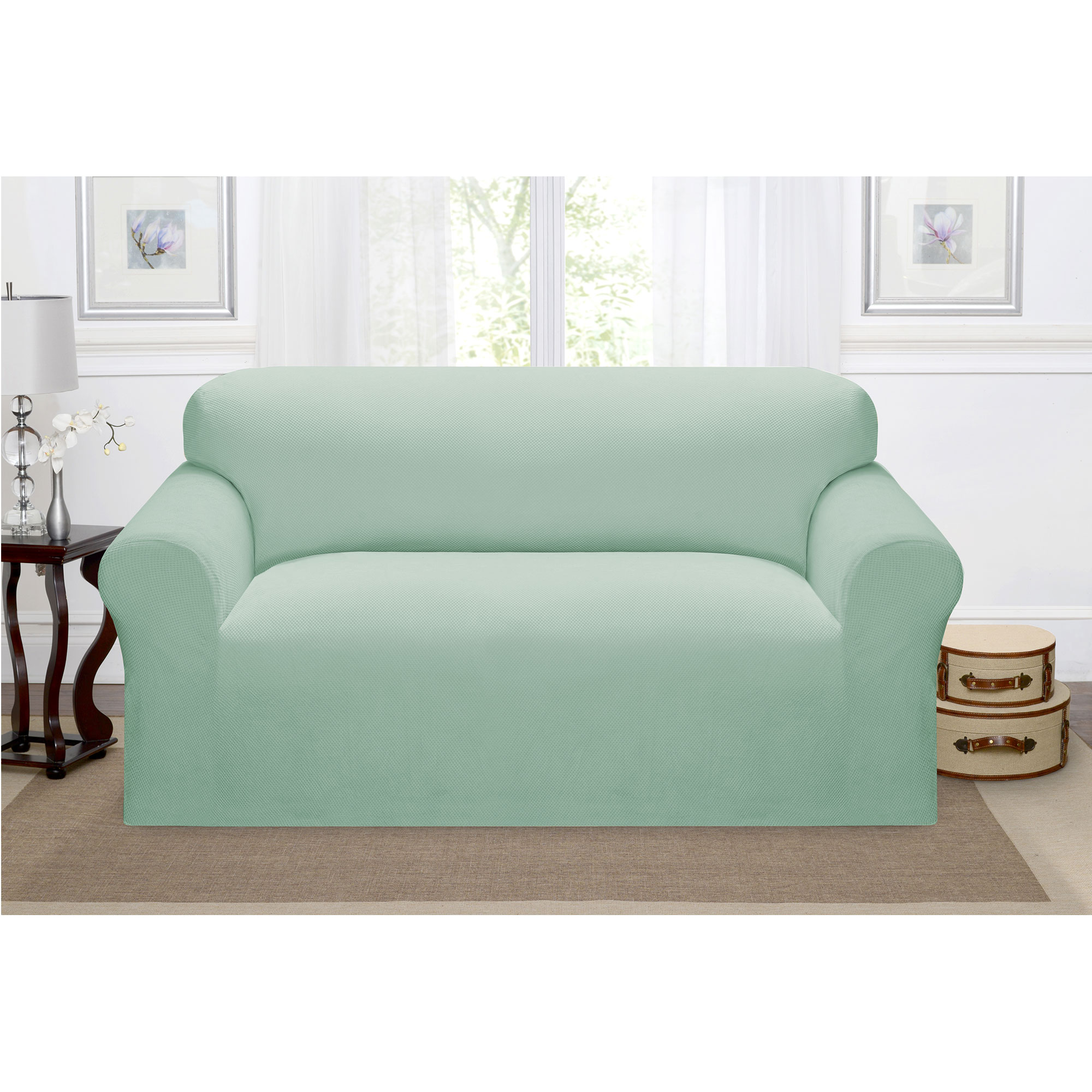 Madison Home Stretch Pique Furniture Slipcover, Soft Waffle Textured Pattern (Loveseat, Seaglass)