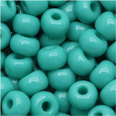 Czech Seed Beads 6/0 Green Turquoise Opaque (1 Ounce) Apple Green Turquoise Beads