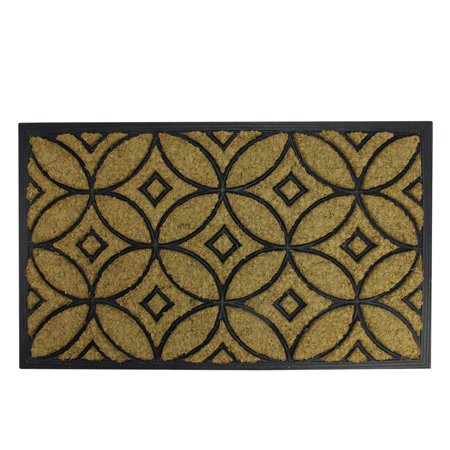 30 Coir Door Mat (Decorative Black Rubber and Coir Outdoor Rectangular Door Mat 30