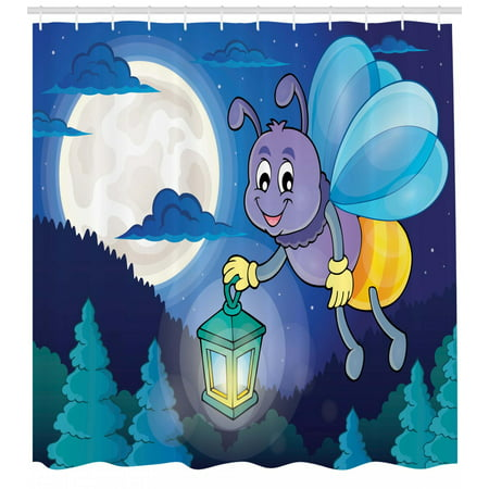 Firefly Shower Curtain Cute Little Bug Flying With Lantern On Full Moon Sky Night Childish