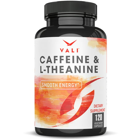 Caffeine 50mg with L-Theanine 100mg Pills for Smooth Energy, Focus, & Clarity - 120 Veggie Capsules. Natural Cognitive Performance Stack for Focused Mind & Body. Extra Strength, No Jitters & No Crash ()