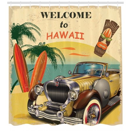 Retro Shower Curtain, Welcome to Hawaii American Pop Art Print with Aged Car Palms Tribal Mask and Surfboards, Fabric Bathroom Set with Hooks, Multi, by -